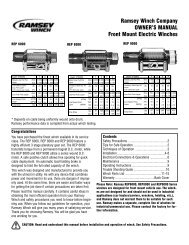 Ramsey Winch Company OWNER'S MANUAL Front Mount Electric ...