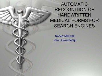 A Handwriting Recognition Lexicon Reduction Technique ... - CEDAR