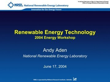 Renewable Energy Technology - Clean Energy Resource Teams