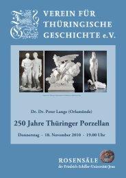 250 Jahre Thüringer Porzellan - Verein für Thüringische Geschichte