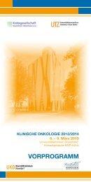 Aktuelles Vorprogramm zur Klinischen Onkologie 2013/2014