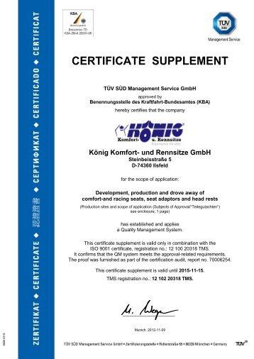 KBA certificate TÜV 2012 - König Komfort- und Rennsitze GmbH