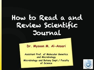 How to read a scientific journal (3) MYSOON