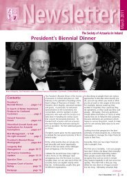 Newsletter March 2011 - Society of Actuaries in Ireland