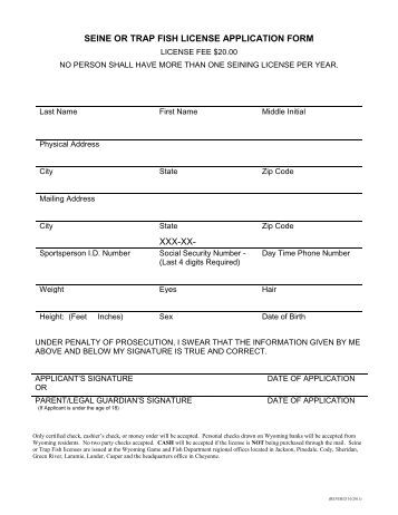 Bvi fishing license application form for Wyoming game and fish license