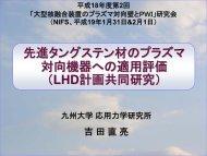 「先進タングステン材のプラズマ 対向機器への適用評価(LHD計画共同研究 ...
