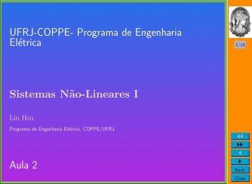 Programa de Engenharia Elétrica Sistemas N˜ao-Lineares I Aula 2