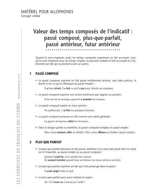 Valeur Des Temps Composa C S De L Indicatif Ccdmd