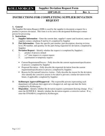 KOLLMORGEN Supplier Deviation Request Form INSTRUCTIONS ...