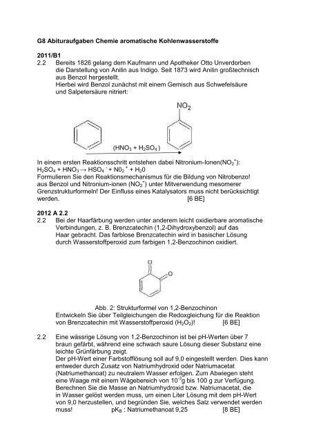 G8 Abituraufgaben Chemie Aromatische Bentz46de
