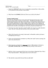 1. Identify the CONFLICT in this story. Is it primarily an external Man ...