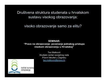 Društvena struktura studenata u hrvatskom sustavu visokog ...