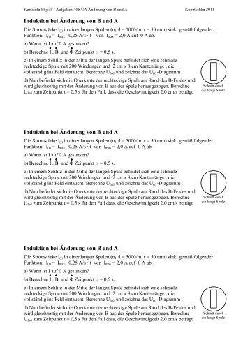 Induktion bei Änderung von B und A Induktion bei Änderung von B ...