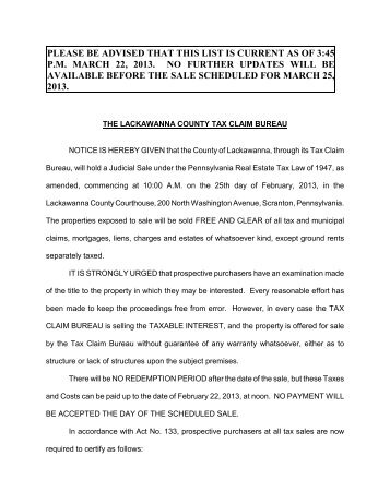 to download the 2013 Judicial Sale List - Lackawanna County
