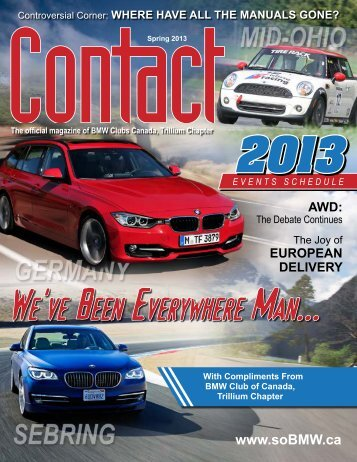 Contact Spring 2013 - BMW Club of Canada, Trillium Chapter