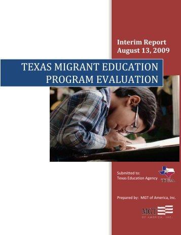 texas migrant education program evaluation - TEA - Home School ...