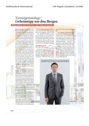 Raiffeisenbank Kleinwalsertal TOP Magazin Düsseldorf, IV/2009