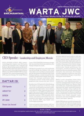 CEO Speaks - Leadership and Employee Morale - binus university