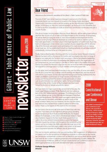 January 2008 - Gilbert + Tobin Centre of Public Law - University of ...