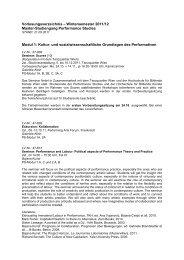 Vorlesungsverzeichnis WS 2011/12 - Performance Studies ...