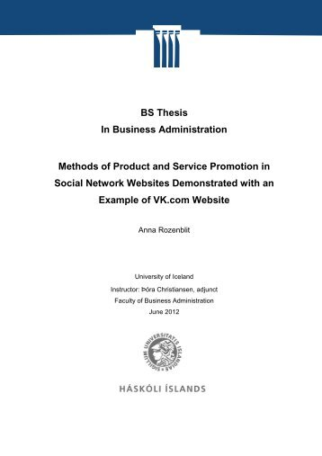 BS Thesis In Business Administration Methods of Product - Skemman