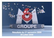 Présentation Résultats 1er semestre 2009 - vdef - Groupe M6