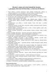 okruhy k SZZk z předmětu sociální politika a sociální práce pro rok ...