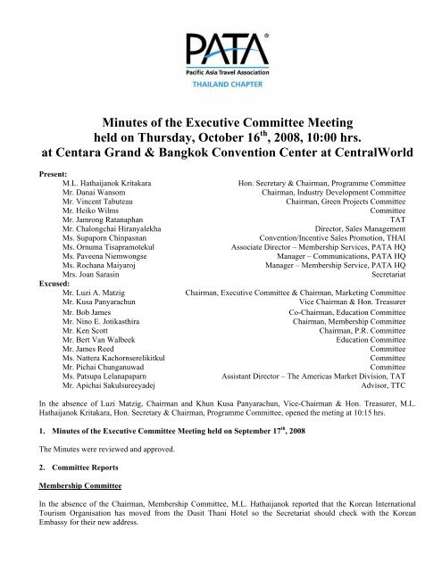 Minutes of the Executive Committee Meeting held on Thursday ...
