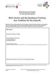 Mein Verein und die Sparkasse Freising. Aus Tradition für die Zukunft.