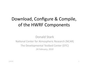 Download, Configure & Compile, of the HWRF Components