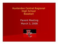 Hunterdon Central Regional High School Baseball Parent Meeting ...