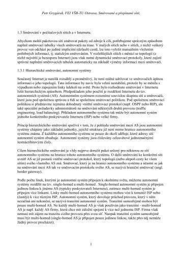 Grygárek, P.: Směrování v počítačových sítích a v Internetu