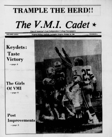 The Cadet. VMI Newspaper. October 18, 1985 - New Page 1 [www2 ...