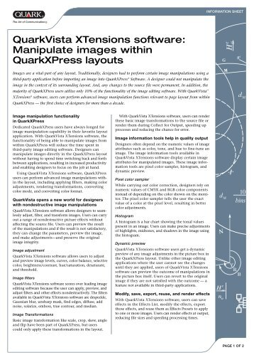 QuarkVista XTensions software Information Sheet - Quentin