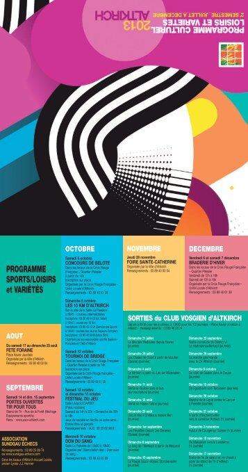 Programme culturel 2e semestre 2013 - Site officiel de la Mairie ...