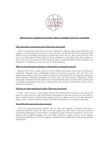 GSA FAQ - George Stevens Academy