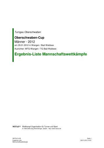 Ergebnis-Liste Mannschaftswettkämpfe - Turngau Oberschwaben