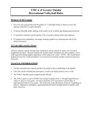 2012 Recreational Volleyball Rules - Youth Sports YMCA