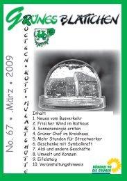 Grünes Blättchen Nr. 67 - Bündnis 90/Die Grünen Roetgen