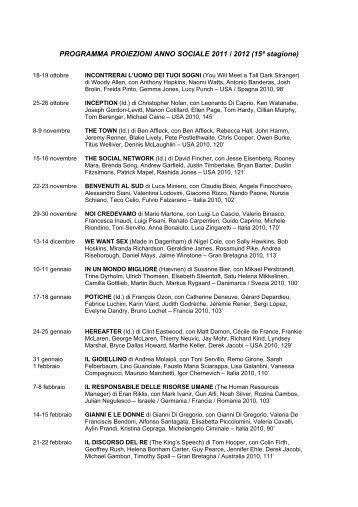 PROGRAMMA PROIEZIONI ANNO SOCIALE 2011 / 2012 (15ª ...