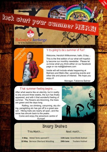 kick start your summer HERE! - Balmer's Herberge