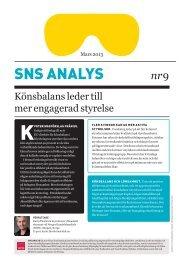 SNS Analys nr 9. Könsbalans leder till mer engagerad styrelse ...