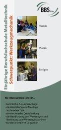 Einjährige B erufsfachschule M etalltechnik Sch w ... - BBS Soltau
