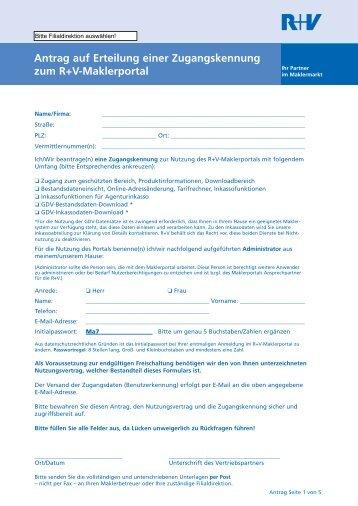 Antrag auf Zugang zum Maklerportal