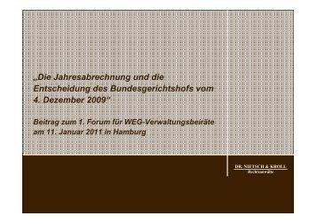 """""""Die Jahresabrechnung und die Entscheidung des Bundesgerichtshofs ..."""