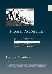 Code of Behaviour - Pioneer Archers