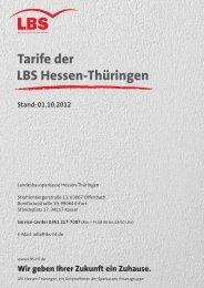 Tarife der LBS Hessen-Thüringen - Kreissparkasse Saale-Orla