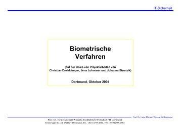 Biometrische Verfahren - Prof. Dr. Heinz-Michael Winkels