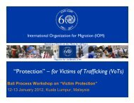 """""""Protection"""" – for Victims of Trafficking (VoTs) - Bali Process"""