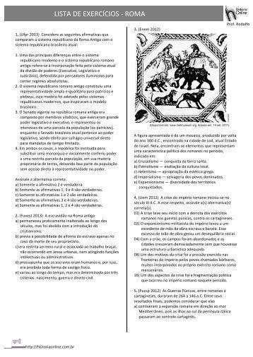 LISTA DE EXERCÍCIOS -‐ ROMA